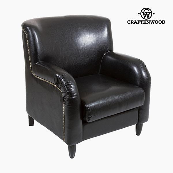 Poltrona Imitație de piele Nero - Relax Retro Collezione by Craftenwood