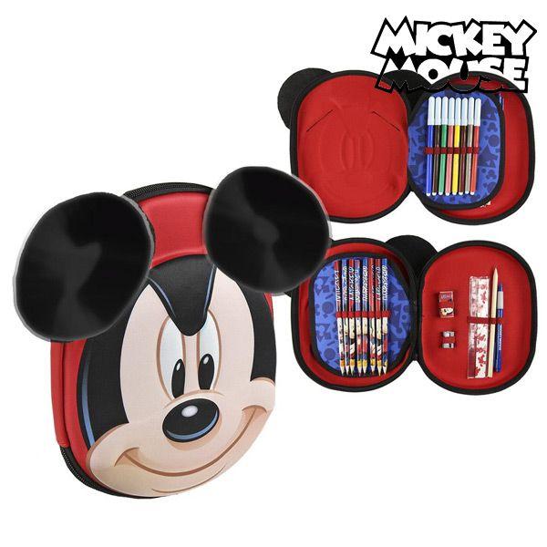 Astuccio Plumier Triplo Mickey Mouse 58393 Rosso