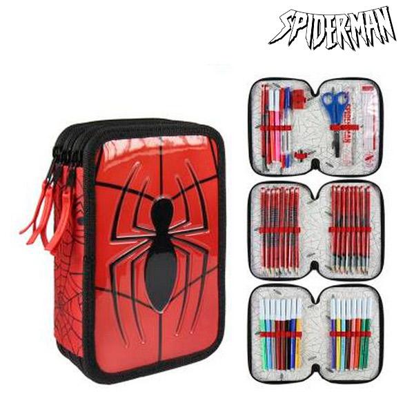 Astuccio Plumier Triplo Spiderman 8492 Rosso