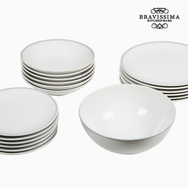 Vajilla (19 pcs) Loza Blanco Gris - Colección Kitchen's Deco by Bravissima Kitchen