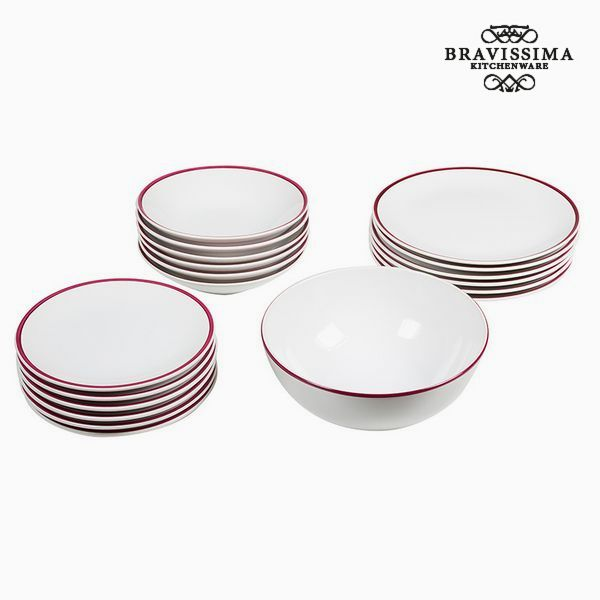 Vajilla (19 pcs) Blanco Burdeos - Colección Kitchen's Deco by Bravissima Kitchen