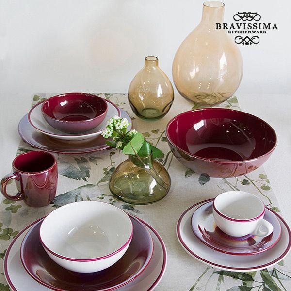 Vajilla (19 pcs) Blanco Burdeos - Colección Kitchen's Deco by Bravissima Kitchen (1)