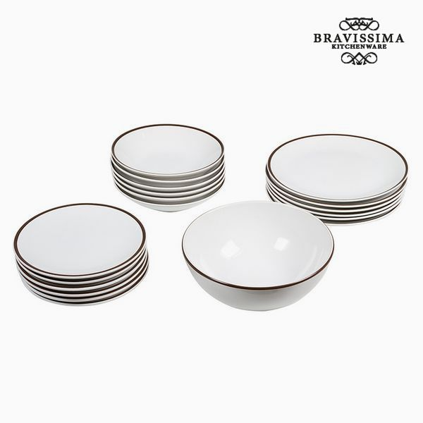 Vajilla (19 pcs) Loza Blanco Marrón - Colección Kitchen's Deco by Bravissima Kitchen