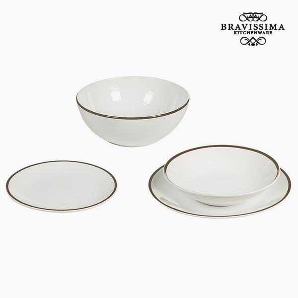 Vajilla (19 pcs) Loza Blanco Marrón - Colección Kitchen's Deco by Bravissima Kitchen (1)