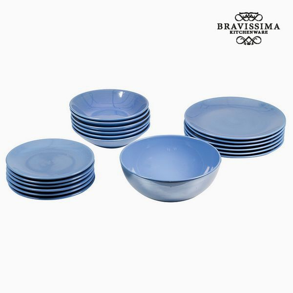 Vajilla (19 pcs) Loza Azul claro - Colección Kitchen's Deco by Bravissima Kitchen
