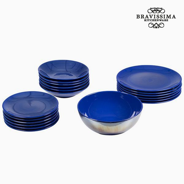 Vajilla (19 pcs) Loza Azul marino - Colección Kitchen's Deco by Bravissima Kitchen