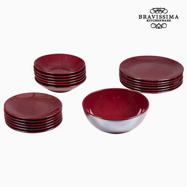 Vajilla (19 pcs) Loza Burdeos - Colección Kitchen's Deco by Bravissima Kitchen