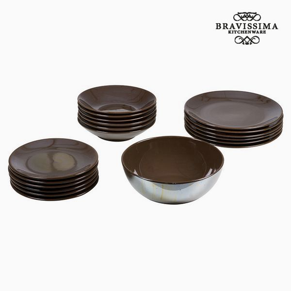 Vajilla (19 pcs) Loza Marrón - Colección Kitchen's Deco by Bravissima Kitchen