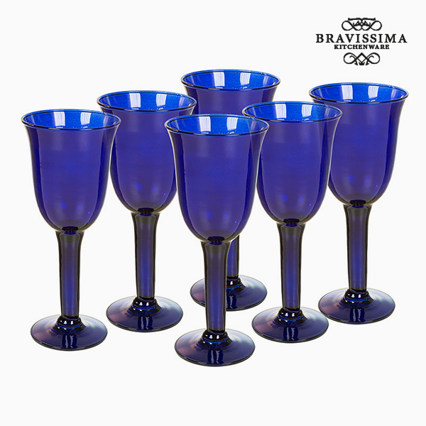 Copas de Vidrio Reciclado (6 pcs) 350 ml Azul - Colección Crystal Colours Kitchen by Bravissima Kitchen
