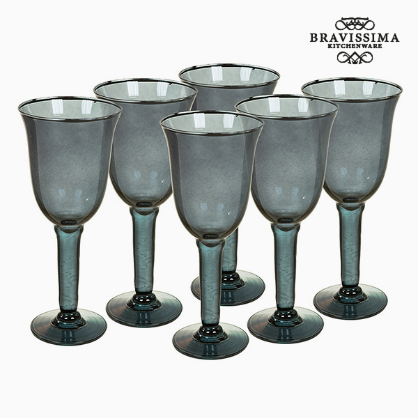 Copas de Vidrio Reciclado (6 pcs) 500 ml Gris - Colección Crystal Colours Kitchen by Bravissima Kitchen
