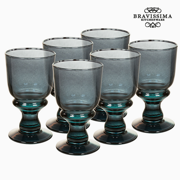 Copas de Vidrio Reciclado (6 pcs) 250 ml Gris - Colección Crystal Colours Kitchen by Bravissima Kitchen
