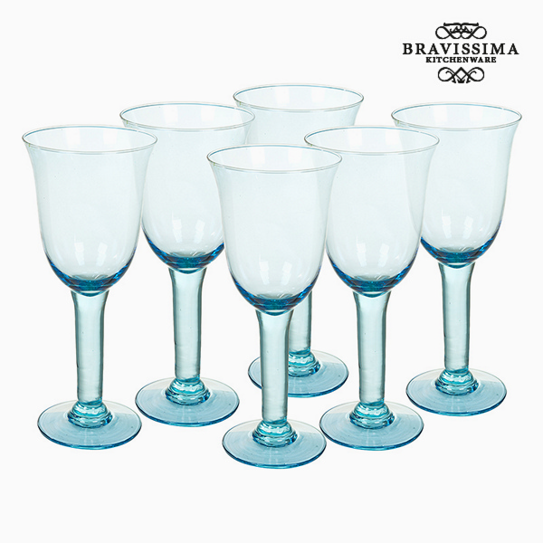 Copas de Vidrio Reciclado (6 pcs) 500 ml Azul - Colección Crystal Colours Kitchen by Bravissima Kitchen