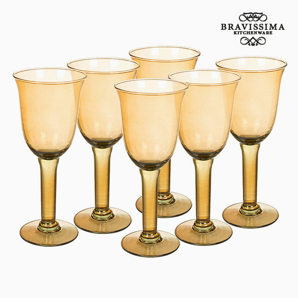 Copas de Vidrio Reciclado (6 pcs) 500 ml Amarillo - Colección Crystal Colours Kitchen by Bravissima Kitchen