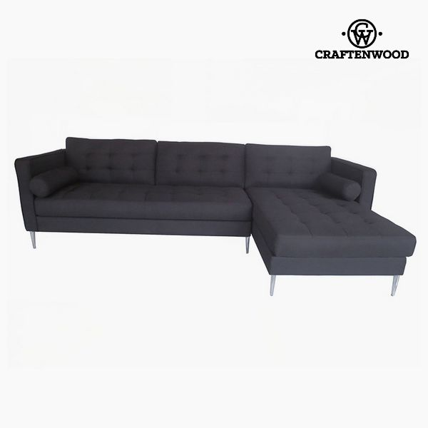 Sofá Chaise Longue Madera de pino Poliéster Negro (262 x 91 x 81 cm) by Craftenwood (1)