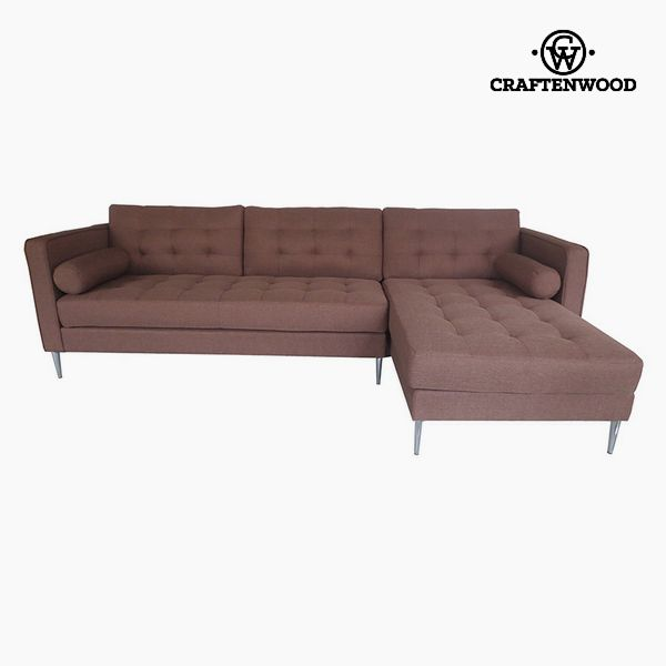 Sofá Chaise Longue Madera de pino Poliéster Marrón (262 x 91 x 81 cm) by Craftenwood (1)