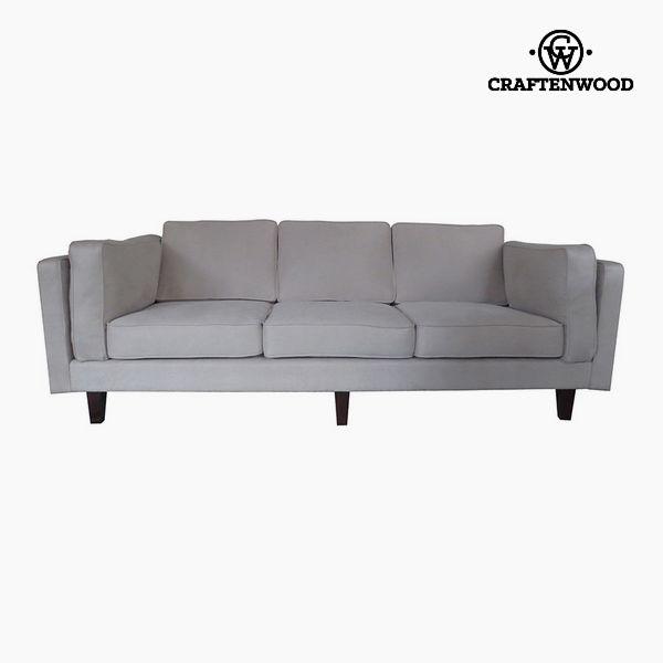 Sofá de 3 Plazas Madera de pino Polipiel Beige (228 x 92 x 80 cm) by Craftenwood (1)