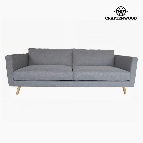 Sofá de 3 Plazas Madera de pino Terciopelo Gris (211 x 88 x 83 cm) by Craftenwood (1)