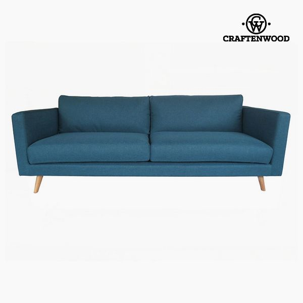 Sofá de 3 Plazas Madera de pino Poliéster Azul (211 x 88 x 83 cm) by Craftenwood (1)