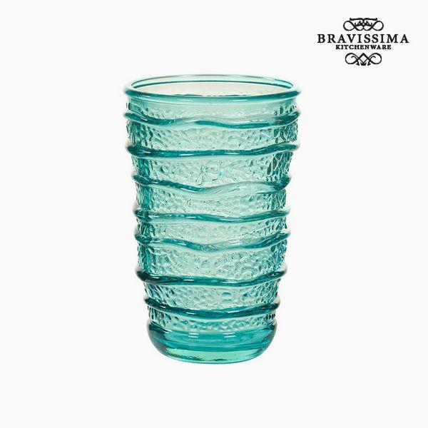 Vaso de Vidrio Reciclado Turquesa (8 x 8 x 13 cm) by Bravissima Kitchen