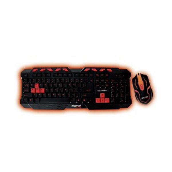 Tipkovnica in Miška Gaming approx! APPCOMBOO1 QWERTY USB Osvetljeno Ozadje Črna Rdeča