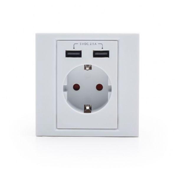 Presa Parete con 2 Porte USB iggual IGG315552 2.1A Bianco
