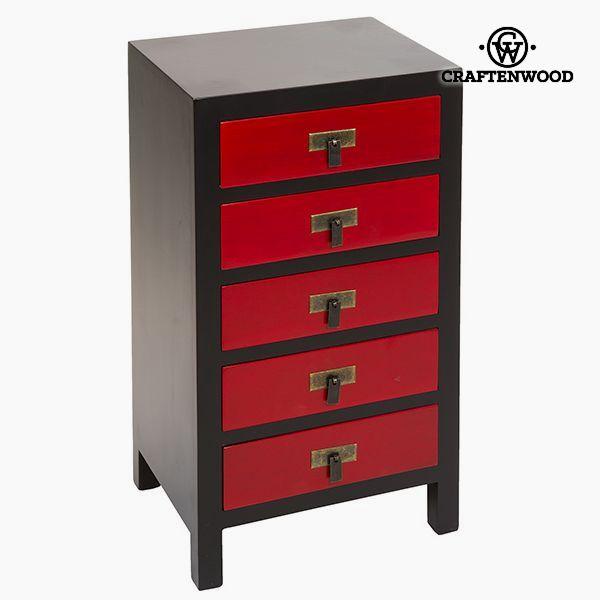 Recibidor Mdf Negro Rojo (44 x 32 x 80 cm) - Colección Modern by Craftenwood