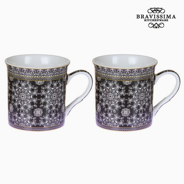 Juego de 2 Tazas Mug Mandala Negro - Colección Kitchen's Deco by Bravissima Kitchen