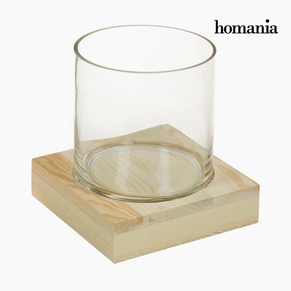 Jarrón Vidrio Madera - Colección Pure Crystal Deco by Homania