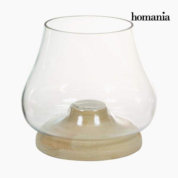 Portavelas Vidrio Madera - Colección Pure Crystal Deco by Homania