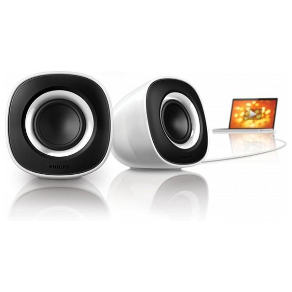 Altavoz Multimedia Philips SPA2201/10 USB 2.0 2W Plug&Play Blanco