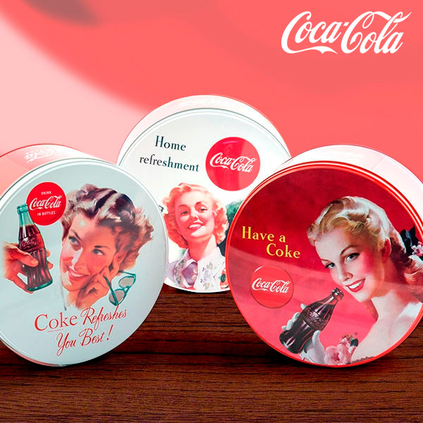 Scatola Metallica Vintage Rotonda Coca-Cola