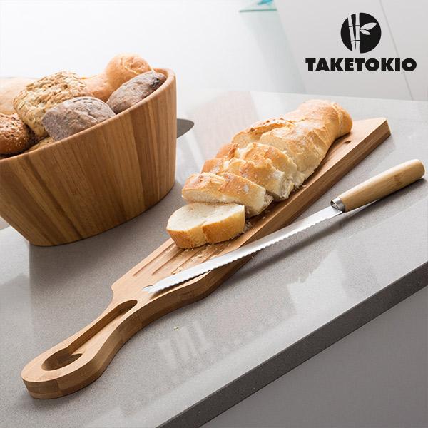 Tabla y Cuchillo para Cortar Pan de Bambú TakeTokio