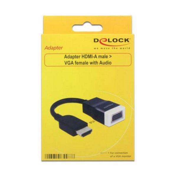 Adapter HDMI v VGA z Audio DELOCK 65587 15 cm Bela Črna