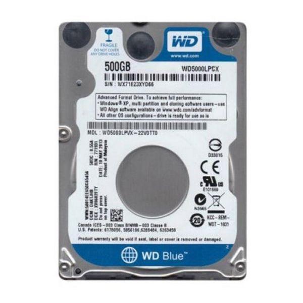 """Trdi Disk Western Digital Blue WD5000LPCX 2.5"""" 500 GB Sata III 5400 rpm Buffer 8 MB"""