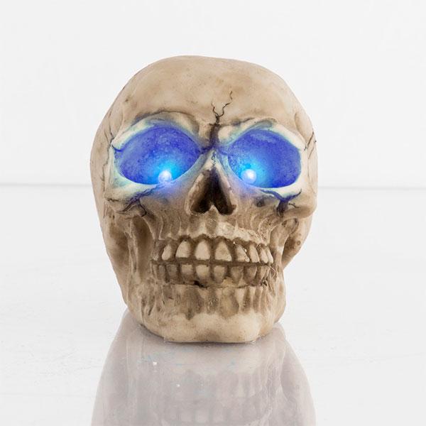 Okrasna Lobanja z LED Očmi - Modra