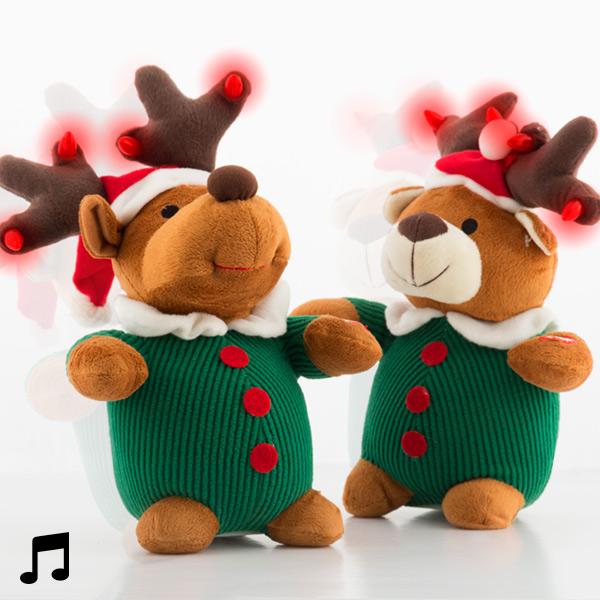 Pojoča in Plešoča Božična Plišasta Igrača z Lučkami - Medved
