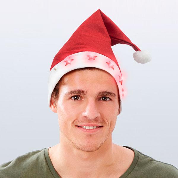 Cappello di Babbo Natale con Stelle LED