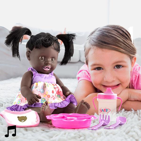 Črna Lutka z Zvokom in Dodatki - Baby
