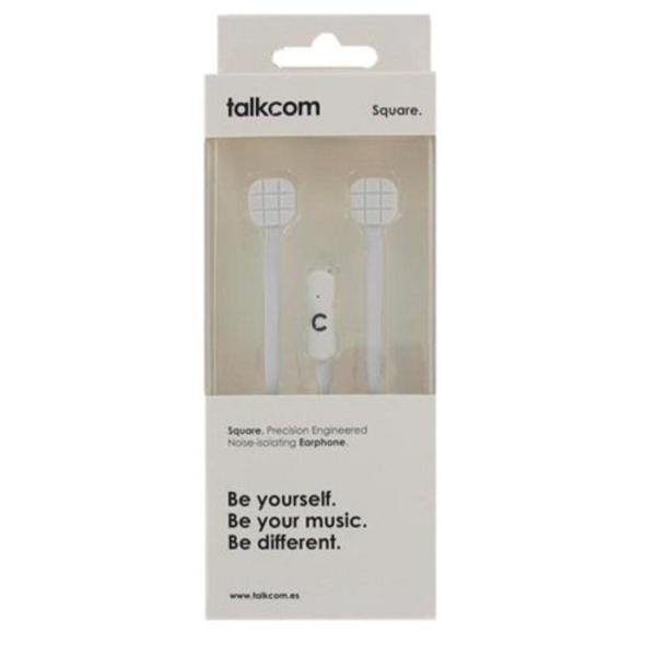 Auricolari con Microfono Talkcom Square Bianco Silicone