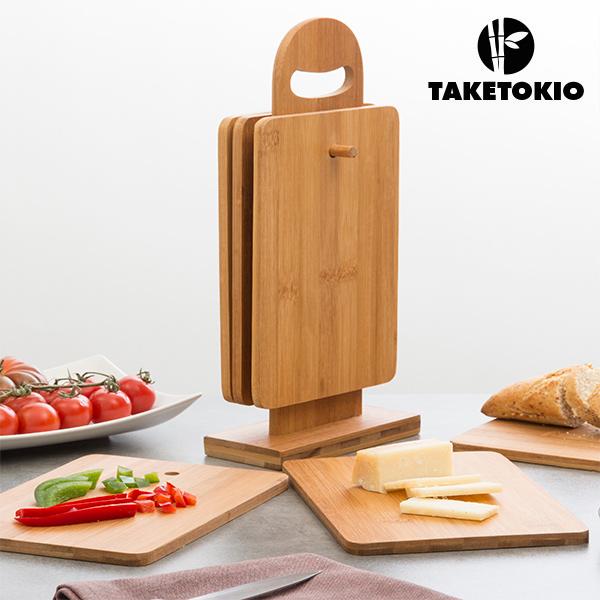 Set de Tablas de Cocina de Bambú con Soporte TakeTokio (7 piezas)