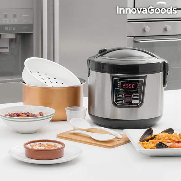 Robot de Cuisine avec Livre de Recettes Smart InnovaGoods 4 L 800W Noir Acier