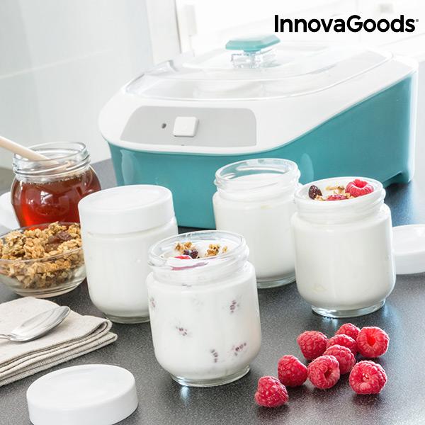 Yogurtiera Vintage con 6 Barattoli InnovaGoods 1 L 20W Bianco Turchese
