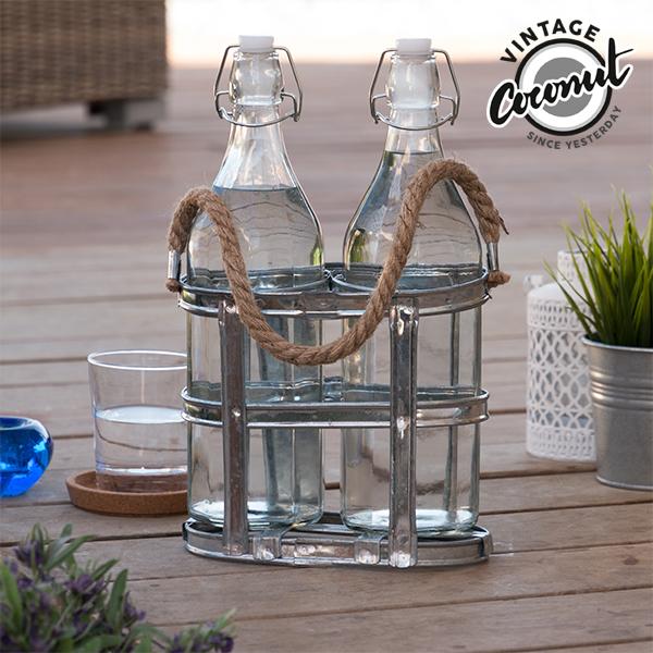 Botellas de Vidrio con Portabotellas Vintage Coconut