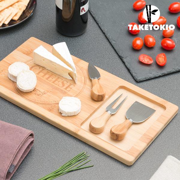 Tagliere in Bamb� per Formaggi con Coltelli TakeTokio (4 pezzi)