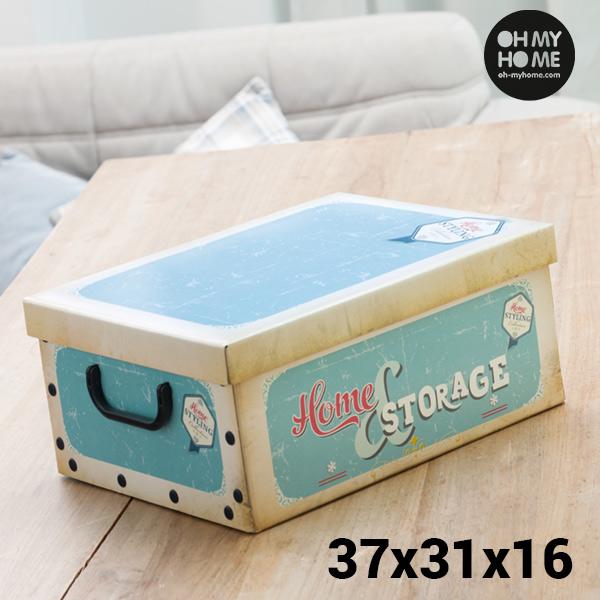 Scatola Porta-tutto di Cartone con Coperchio e Manici Vintage Oh My Home