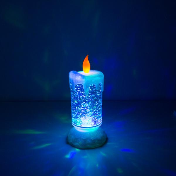 Candela LED Multicolor con Liquido e Porporina in Movimento Homania