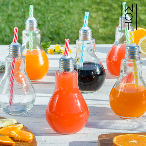 Vasos Bombilla Transparentes con Pajitas Wagon Trend 250 ml (pack de 6)