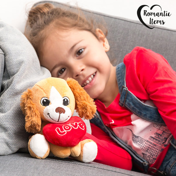 Cagnolino di Peluche con Cuore Love Romantic Items