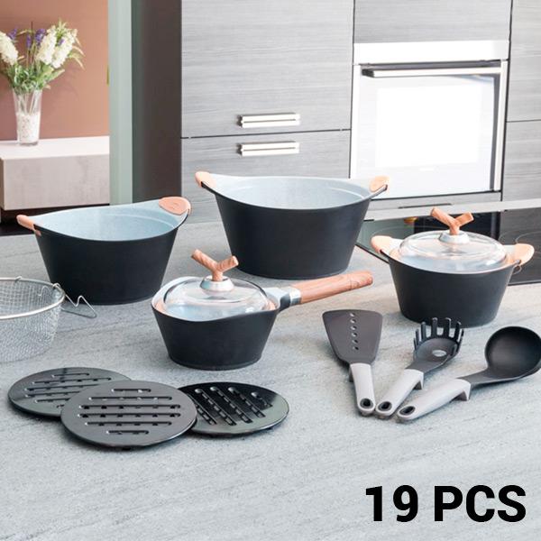 Batería de Cocina Black Premium Bravissima Kitchen 3502 (19 piezas)