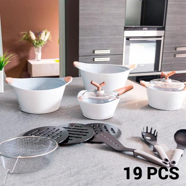 Batería de Cocina White Premium Bravissima Kitchen 3502 (19 piezas)